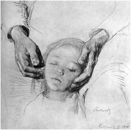 Käthe Kollwitz The baby's head on his mother's arms, 1900